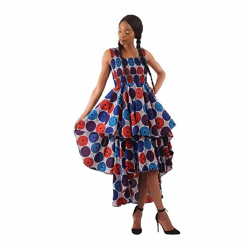White/Blue Circle Print Hi-Lo Tier Dress