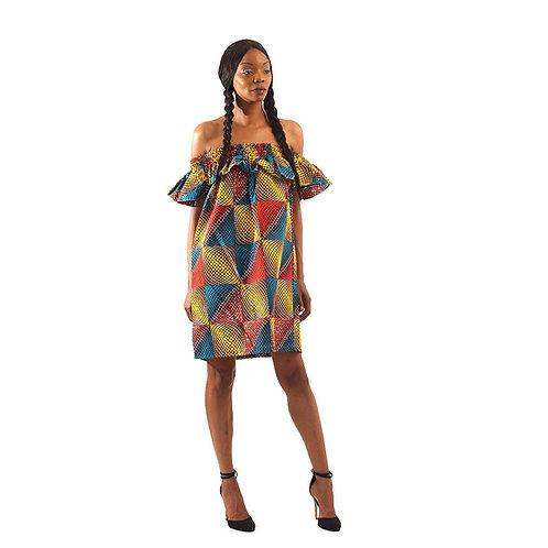 African Gradient Print Short Dress