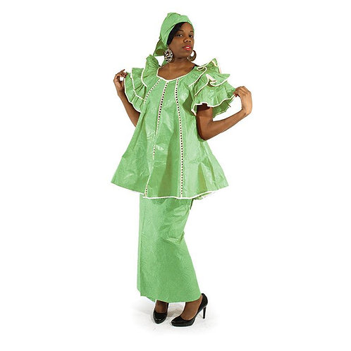 Lime Brocade Pleated Skirt Set