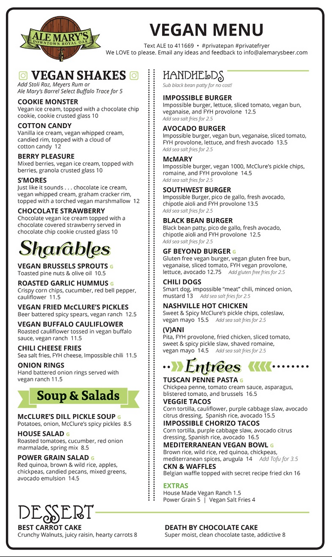 Ale Mary's Royal Oak Vegan Menu