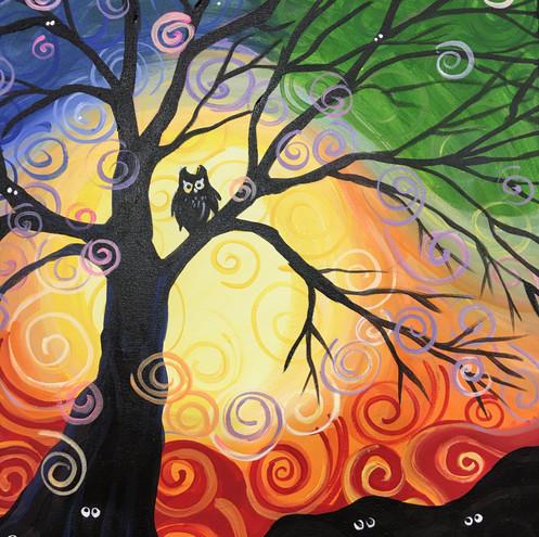 Fall Owl in Tree