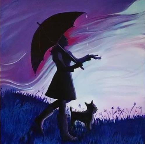 Blue Umbrella Girl