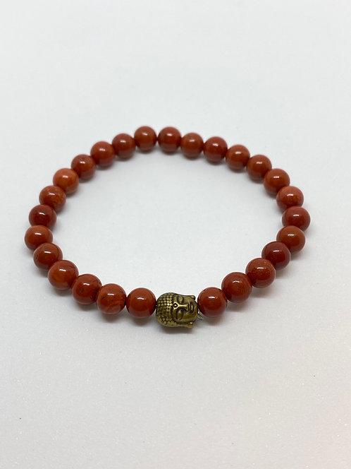 Pulseira - Jaspe Vermelho com Buda Dourado Envelhecido