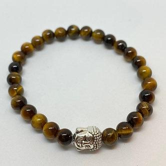 Pulseira - Olho de Tigre e Buda Preateado