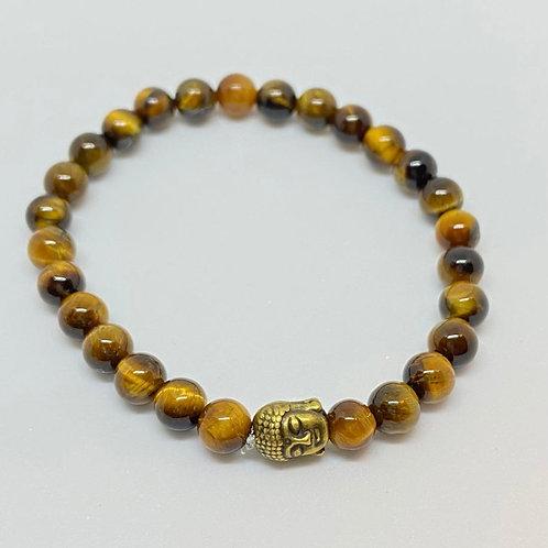 Pulseira - Olho de Tigre e Buda Dourado Envelhecido