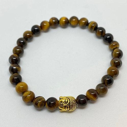 Pulseira - Olho de Tigre e Buda Dourado