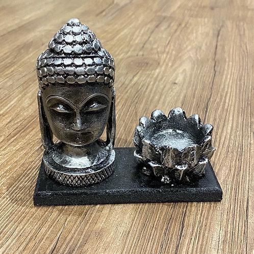 Incensário - Cabeça de Buda e Flor de Lótus - Prateado