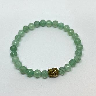 Pulseira - Aventurina/Quartzo Verde com Buda Dourado Envelhecido
