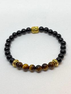 Pulseira - Ônix , Olho de Tigre e Buda Dourado