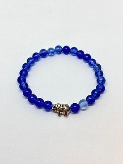 Pulseira - Quarzo Azul com Elefantinho Prata
