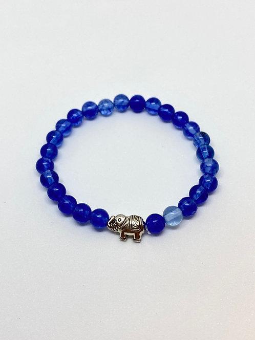 Pulseira - Quartzo Azul com Elefantinho Prata