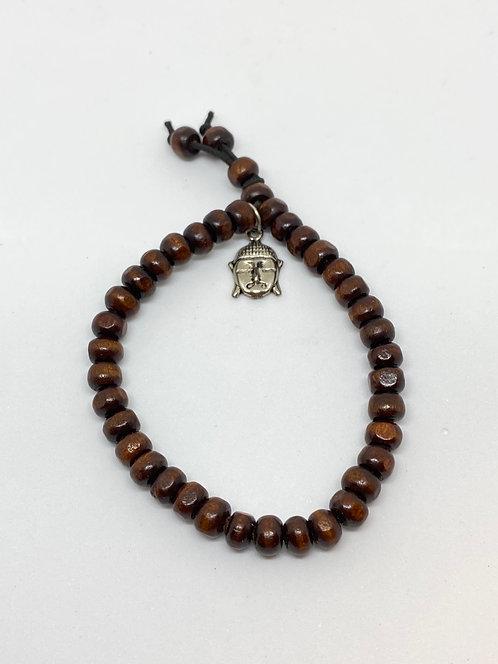Pulseira - Madeira Escura com Buda