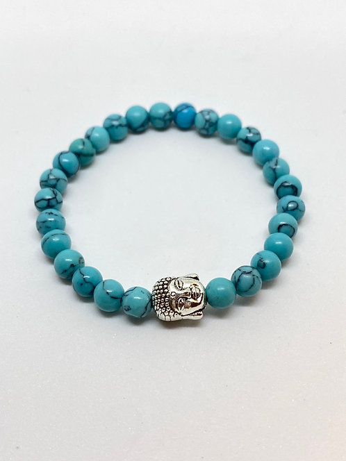 Pulseira Turquesa - Buda prata