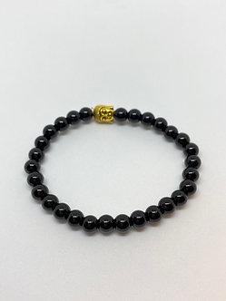 Pulseira - Ônix com Buda dourado