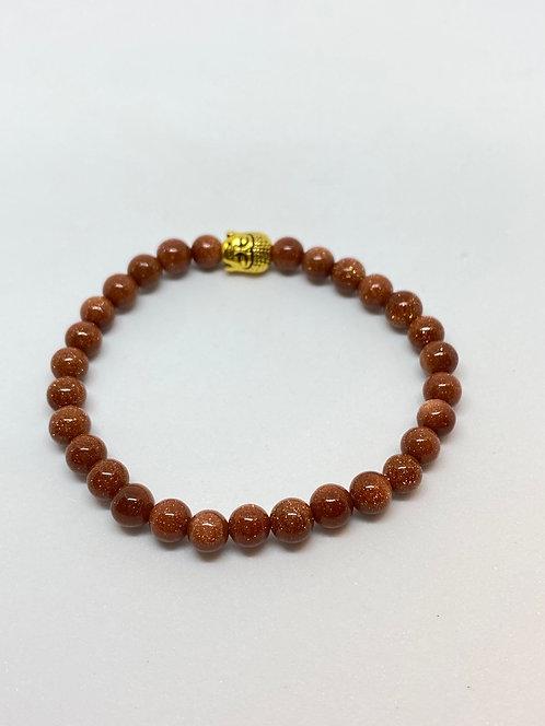 Pulseira - Pedra do sol com Buda dourado