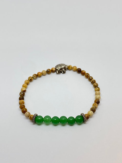 Pulseira - Aventurina/Quartzo Verde e Jaspes Marrom