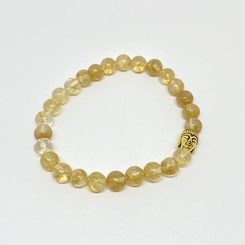 Pulseira - Citrino com Buda Dourado