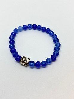 Pulseira - Quartzo Azul com Buda Prata