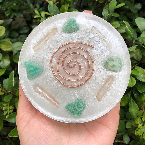 Porta copo - Amazonita e Quartzo Transparente