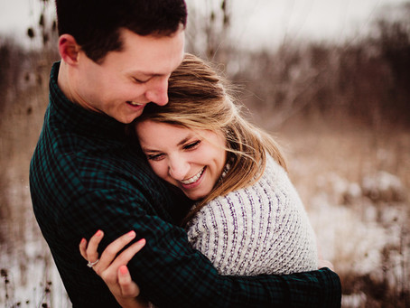 Snowy Engagement Session with Lexi & Tyler, Indianapolis Photographer | Rustic Fields & Fresh Snow