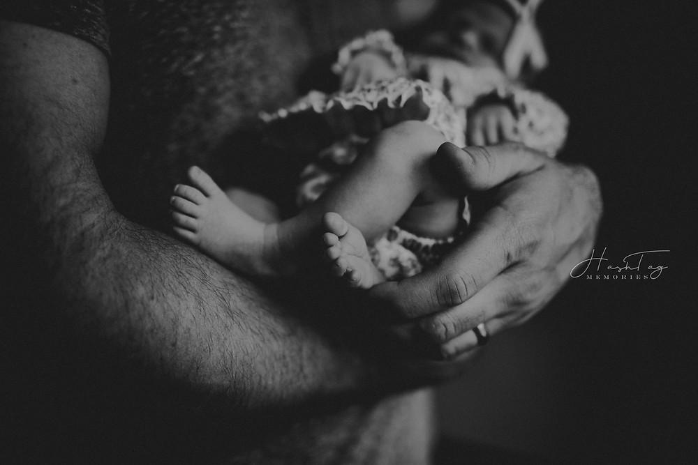 newborn feet, black and white newborn photography