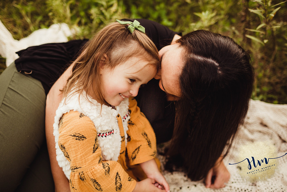 whispers, mom and daughter, toddler girl in yellow dress during fall family photos