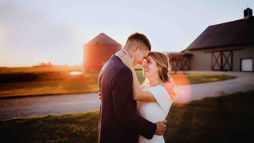 bride and groom during sunset at maple lane pavilion, indianapolis wedding venue