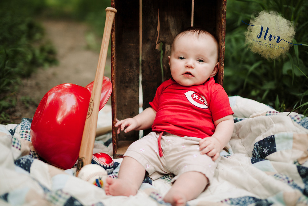 baseball baby photos of Cincinnati reds in Westfield Indinana by HashTag Memories