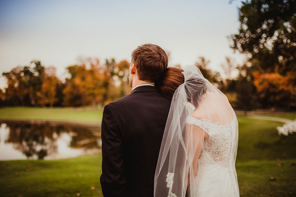Woodland Country Club Fall Bride and Groom before reception