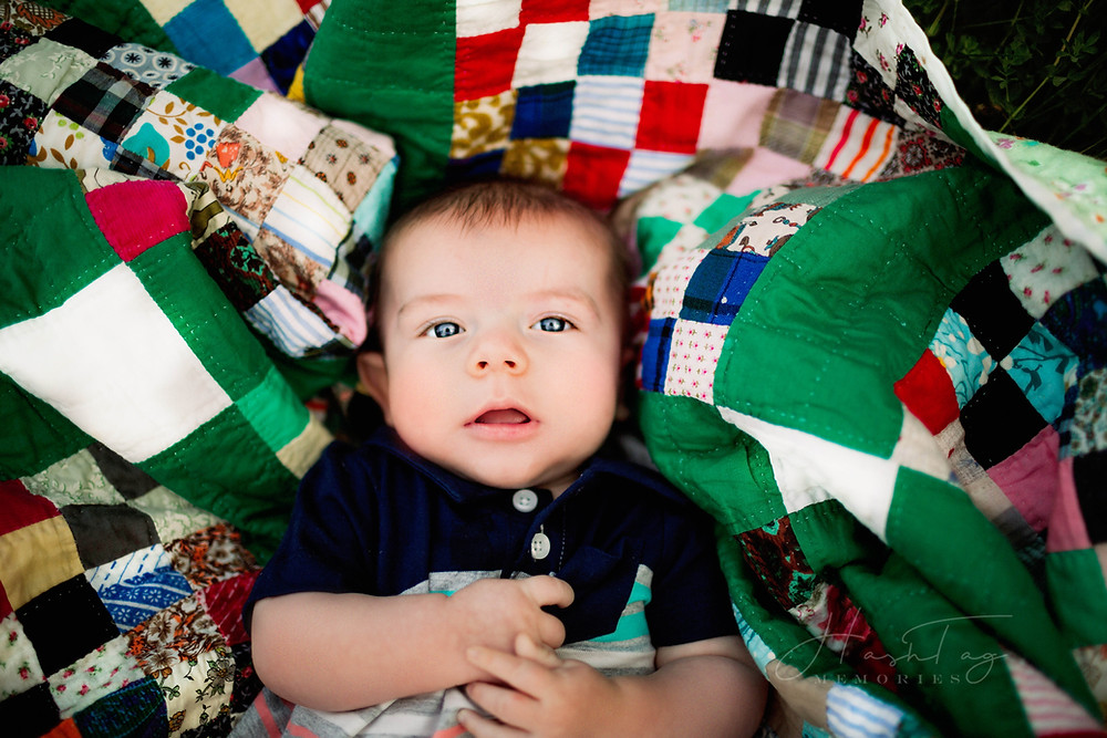 Indianapolis Newborn Photography with Milestone Session, baby on green blanket, four month old baby boy