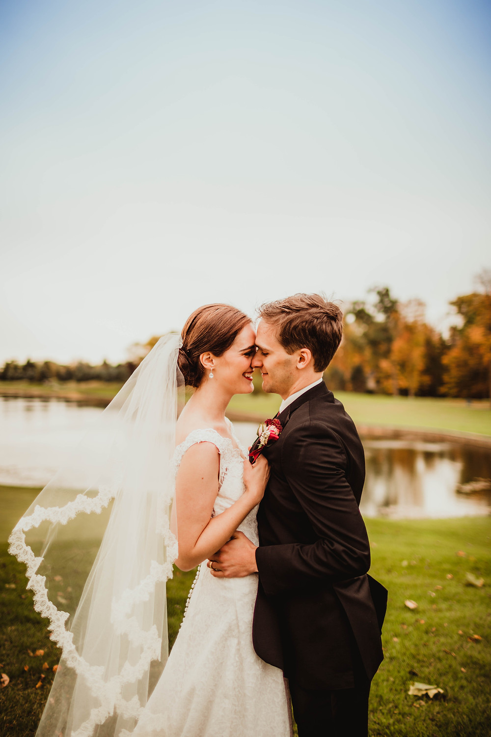 Woodland Country Club Bride and Groom before fall wedding reception