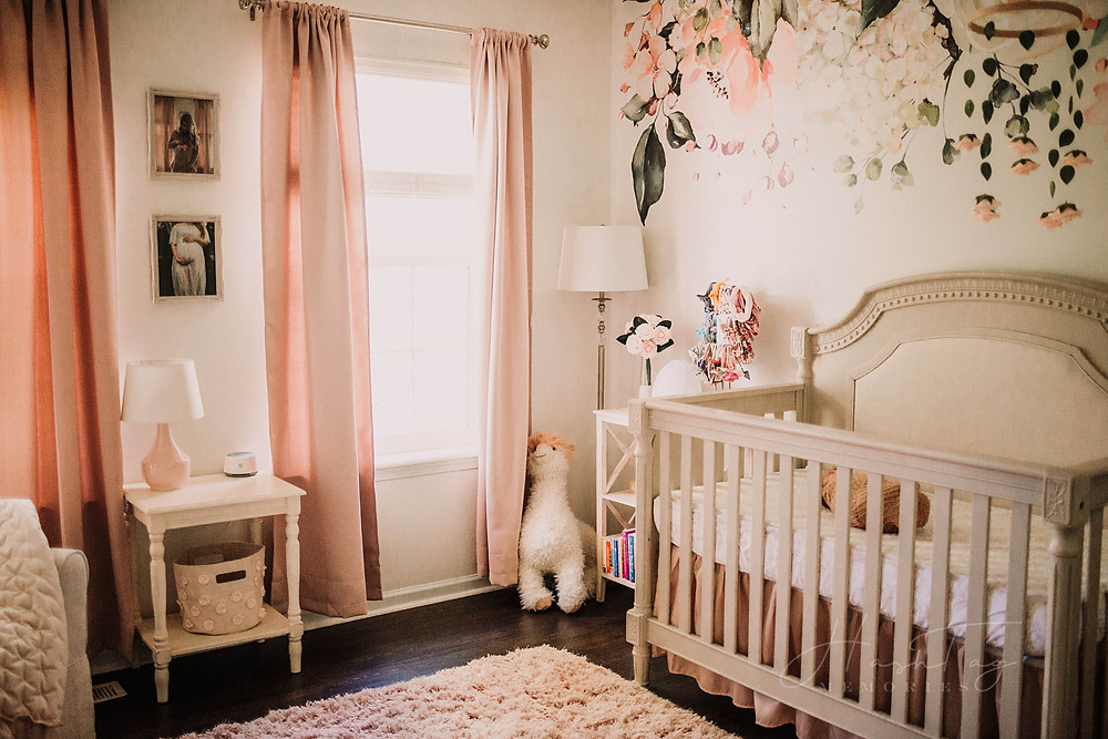 baby girl newborn nursery, floral wall paper, pink nursery, flower nursery with white crib