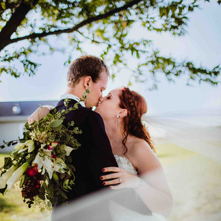wedding couple kissing in veil