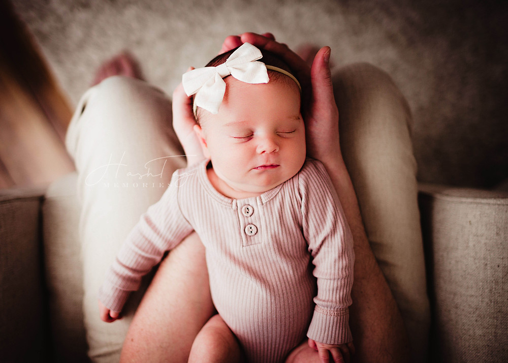 Indianapolis Newborn Photographer, Hashtag Memories Photography, baby in pink onsie, white baby bow