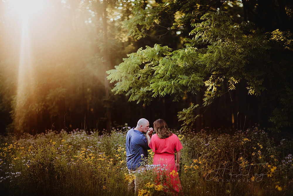Fort Ben Harrison Engagement Photos in wildflowers and black walnut grove with hashtag memories photo