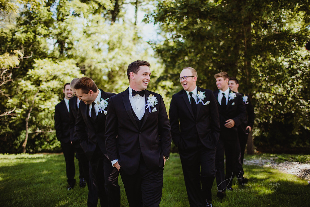 groomsmen at the loft on isanogle wedding venue, muncie indiana