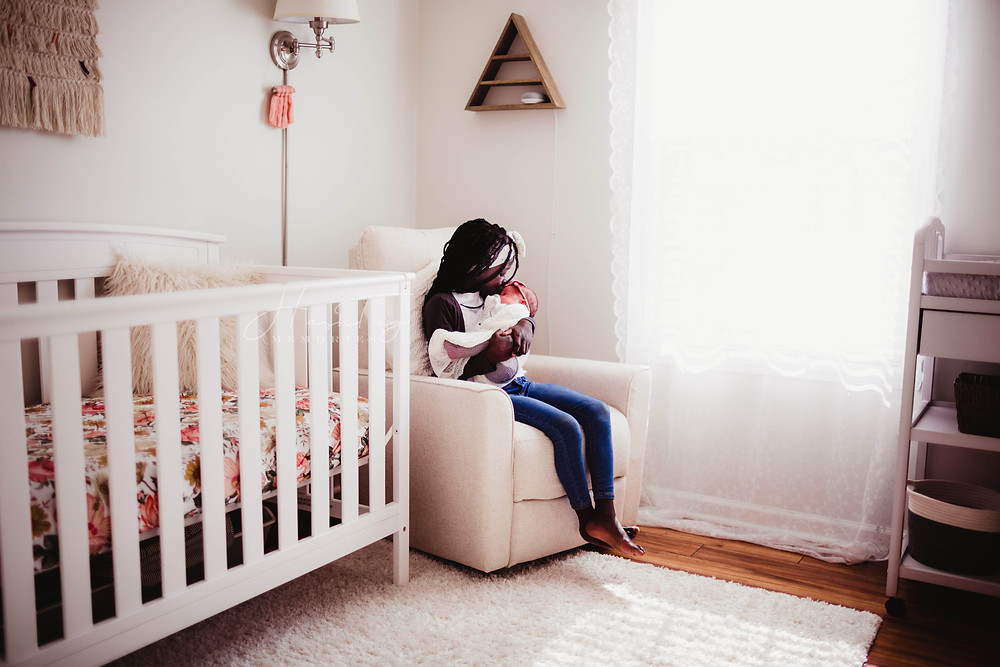 noblesville newborn photographer, big sister holding baby, girl nursery