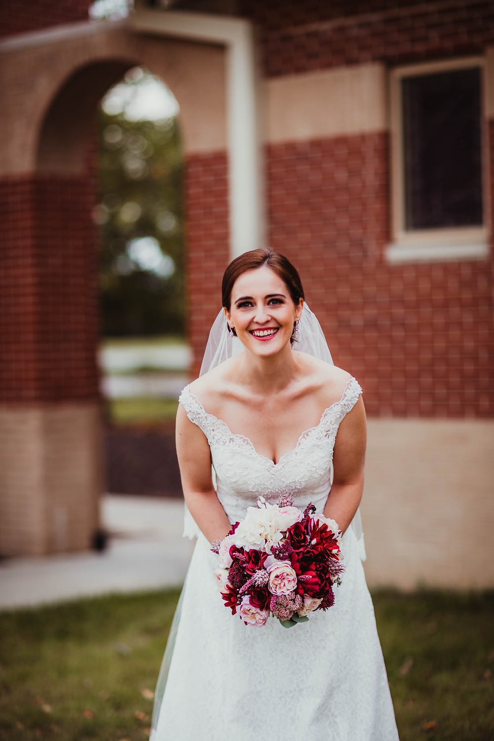 Indy Catholic Wedding, bride in lace wedding dress