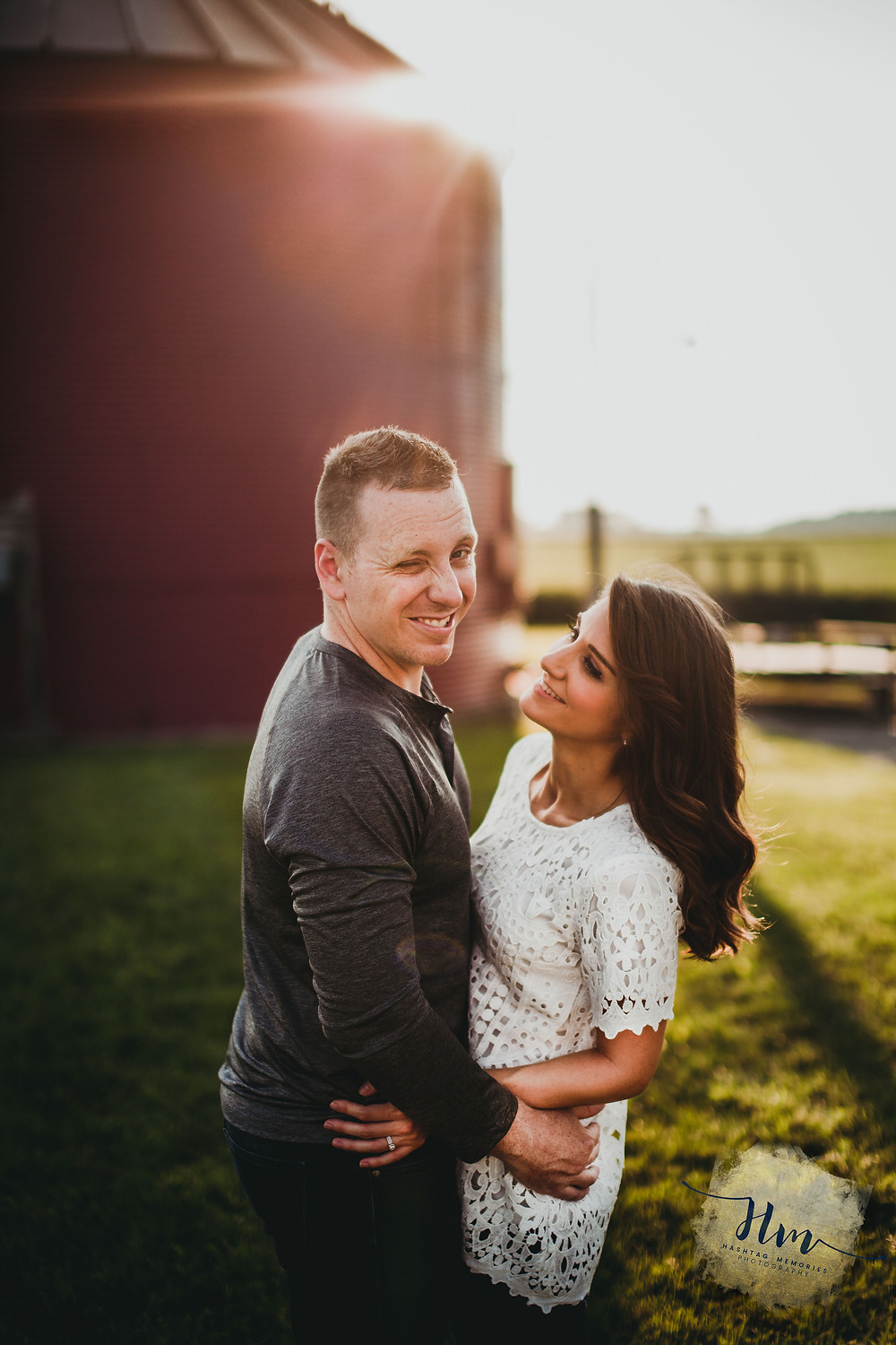 Engagement photos of Indy couple with red barn by HashTag Memories Photography