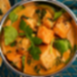 Easy Thai Butternut Squash Red Curry with courgettes and spinach serving with steamed rice