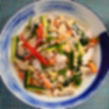 Authentic Asian Chicken Noodle Salad mixed with Cucumber and fish sauce