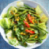 Vegan fun dinner of French cut green beans and roasted sweetcorn blended in miso dressing