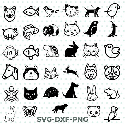 Animal Vector Bundle Cat Dog Fish Horse Hamster SVG / DXF / PNG
