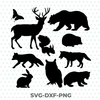 Animal Shapes Pack Design - SVG / DXF / PNG Silhouette