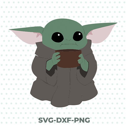 Baby Yoda Soup Design - SVG / DXF / PNG Star Wars Mandalorian