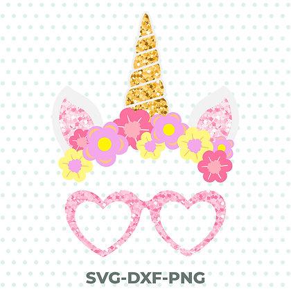 Unicorn Glitter Design - Glasses Ears Flowers SVG / DXF / PNG