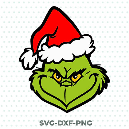 Grinch Face Christmas Xmas SVG / DXF / PNG