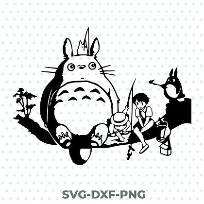 Totoro Scene Design - SVG / DXF / PNG Studio Ghibli