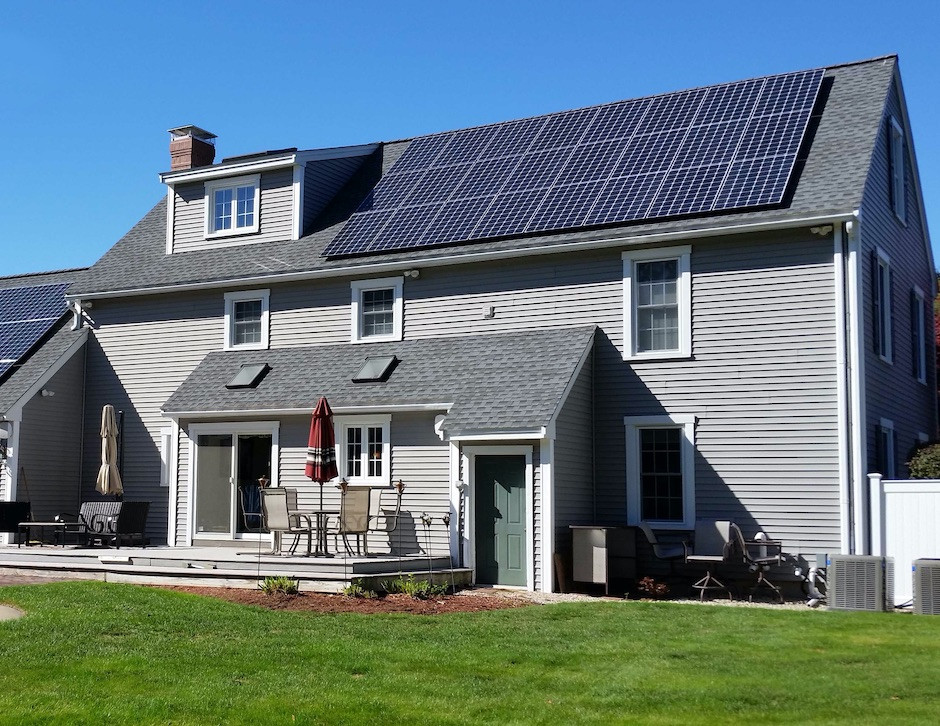Solar panels on house roof in New Hampshire