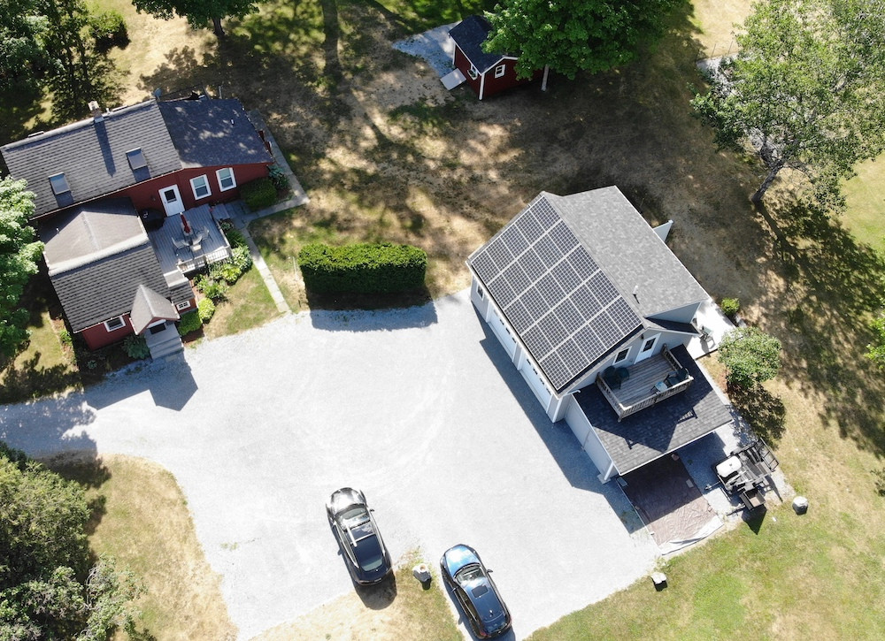 Overhead shot of garage with solar panels in Vermont